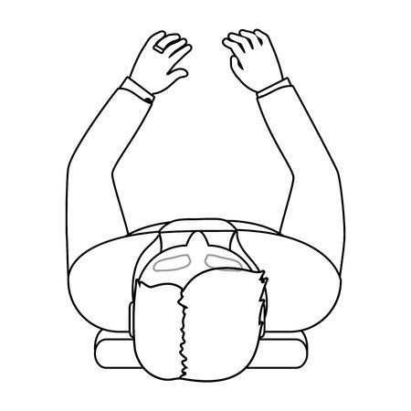 human man upper view cartoon vector illustration graphic design Illustration