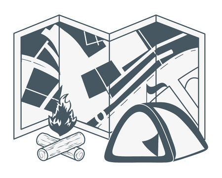 outdoor camping elements cartoon vector illustration graphic design