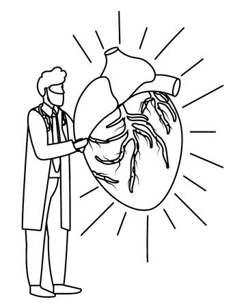 healthcare medical doctor man holding human heart cartoon vector illustration graphic design Illustration