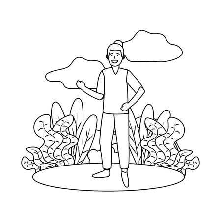 man avatar cartoon character outdoor rural landscape black and white vector illustration graphic design