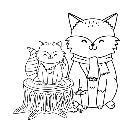 cute animals in truck woodland characters vector illustration design Foto de archivo - 122564581