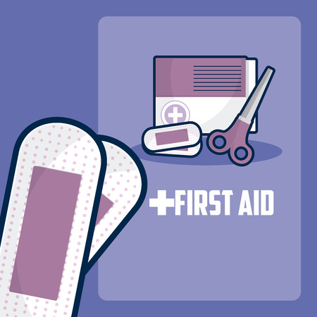 First aid with badnages and scissors vector illustration graphic design