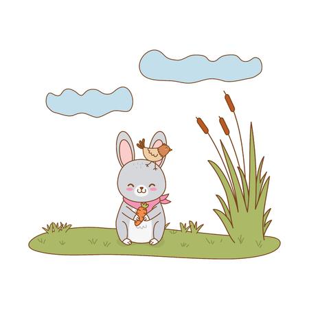 cute rabbit in the field woodland character vector illustration design Foto de archivo - 122564592