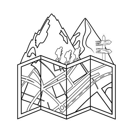 pines trees forest scene with paper map vector illustration design Ilustração