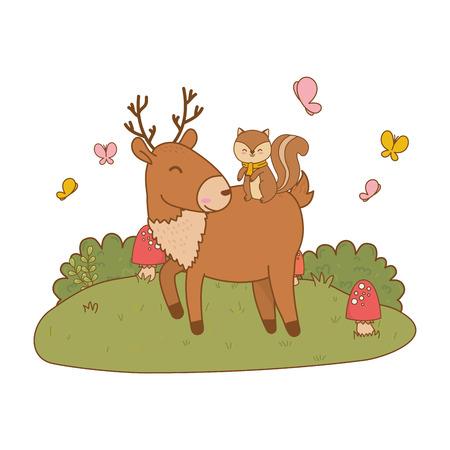cute reindeer with chipmunk woodland character vector illustration design Foto de archivo - 122564628