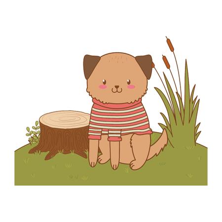 cute dog in the field woodland character vector illustration design Foto de archivo - 122564633