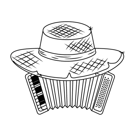 music instrument accordion with famer country hat cartoon vector illustration graphic design