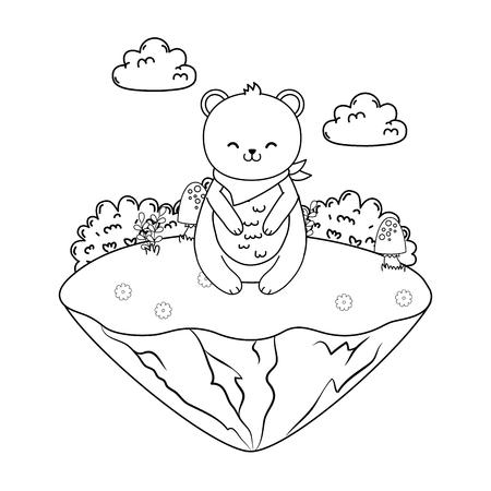 cute bear panda in the field woodland character vector illustration design