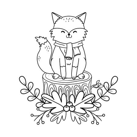 cute fox woodland character vector illustration design Foto de archivo - 122564650