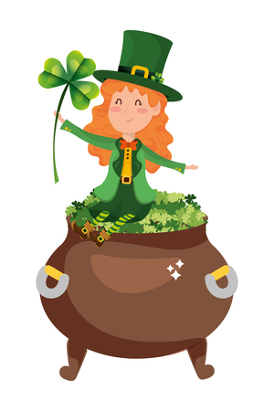 st patricks day elf with clovers pot cartoon vector illustration graphic design
