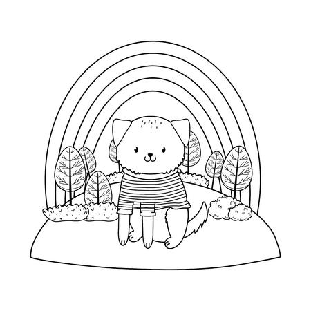 cute dog in the field woodland character vector illustration design Foto de archivo - 122564756