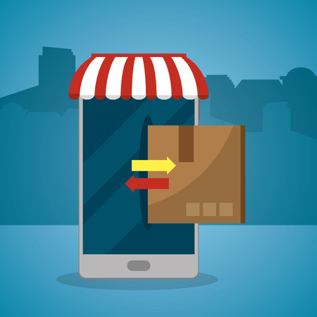 mail order delivery online from smartphone vector illustration graphic design  イラスト・ベクター素材