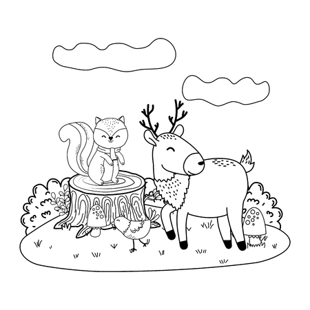 cute animals in the field woodland characters vector illustration design