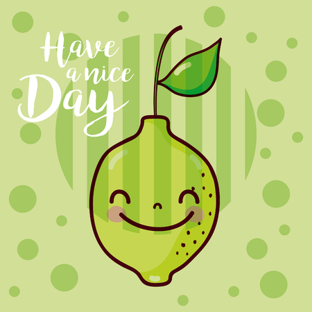 Have a nice day fruits card with lemon vector illustration graphic design