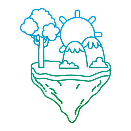 degraded line sun with tree and mountains in the float island vector illustration