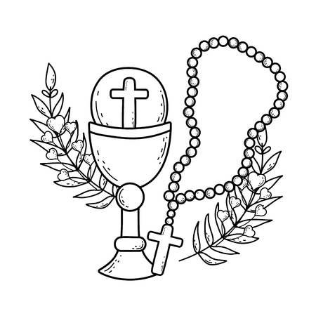 sacred chalice with rosary vector illustration design