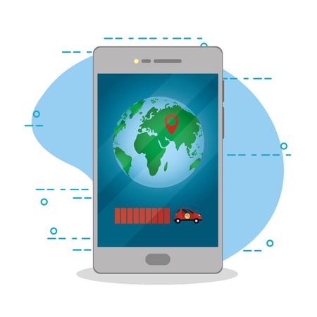 online, mobile order delivery app from smartphone map vector illustration graphic design