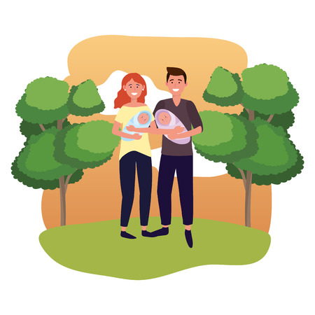couple carrying babys avatar cartoon character outdoor in the park vector illustration graphic design