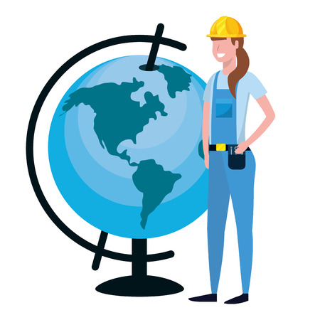 labor day job career construction architectural worker woman with world map cartoon vector illustration graphic design Illustration