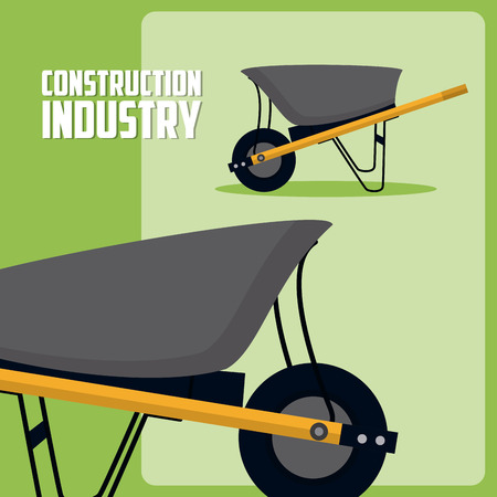 Construction industry with wheelbarrow vector illustration graphic design