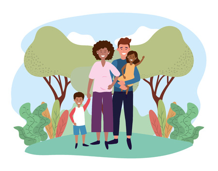 happy man and woman couple with their kids vector illustration