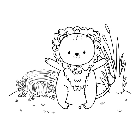 cute lion woodland in the field character vector illustration design