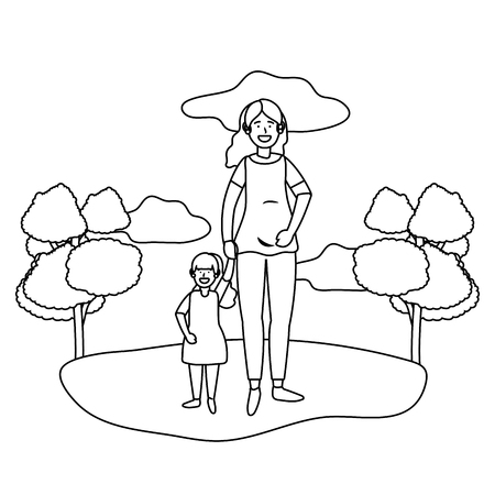 pregnant woman with child avatar cartoon character outdoor in the park black and white vector illustration graphic design