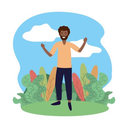 man avatar cartoon character outdoor rural landscape vector illustration graphic design