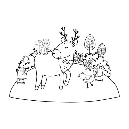 cute animals in the field woodland characters vector illustration design Foto de archivo - 122565026