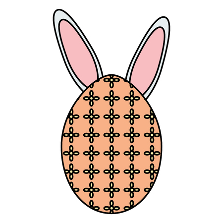 egg painted with rabbit ears easter icon vector illustration design