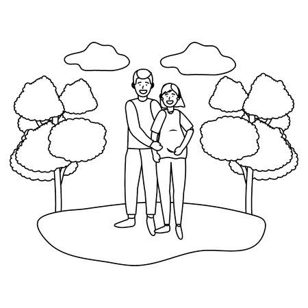 pregnant couple avatar cartoon character outdoor in the park black and white vector illustration graphic design