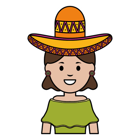 beautiful mexican woman with hat vector illustration design