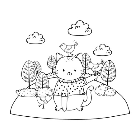 cute cat in the field woodland character vector illustration design Foto de archivo - 122565054