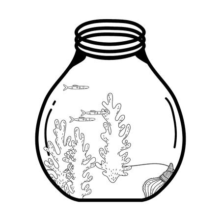 mason jar with seaweed vector illustration design 일러스트