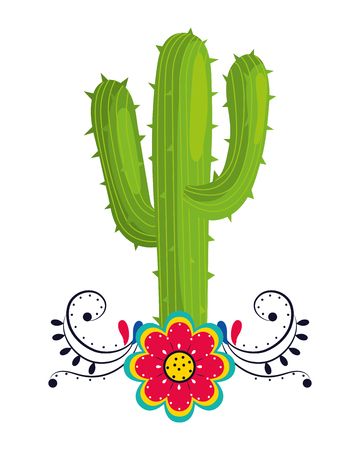 mexican culture mexico cactus with flower cartoon vector illustration graphic design