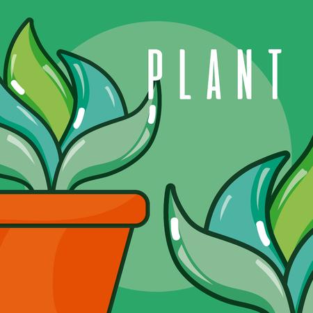 Set of plant in pots cartoons vector illustration graphic design Ilustracja
