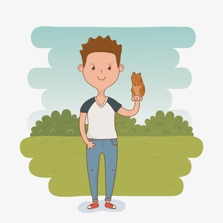 young man with cute guinea pig mascot vector illustration design