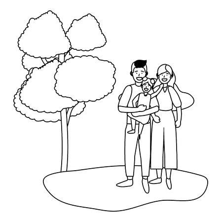 couple with child avatar cartoon character outdoor in the park black and white vector illustration graphic design Illustration