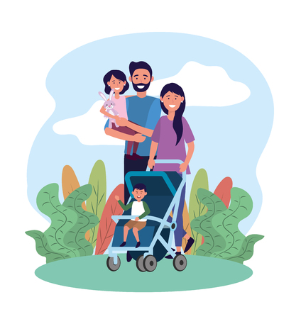 cute man and woman with their daughter and son vector illustration