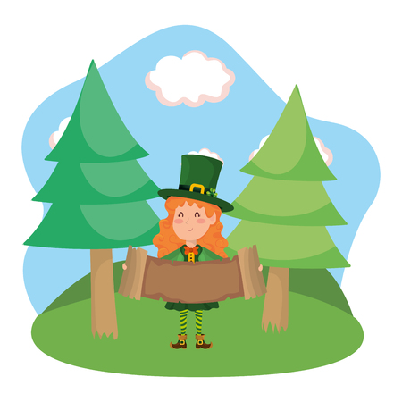 st patricks day elf with parchment cartoon vector illustration graphic design