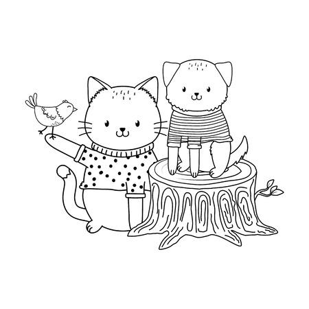 cute animals in truck woodland characters vector illustration design Foto de archivo - 122565250