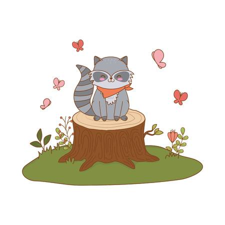 cute raccoon in the field woodland character vector illustration design Foto de archivo - 122565266