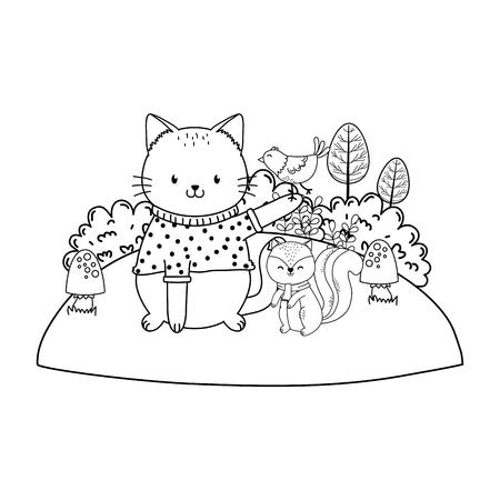 cute cat in the field woodland character vector illustration design Foto de archivo - 122565267