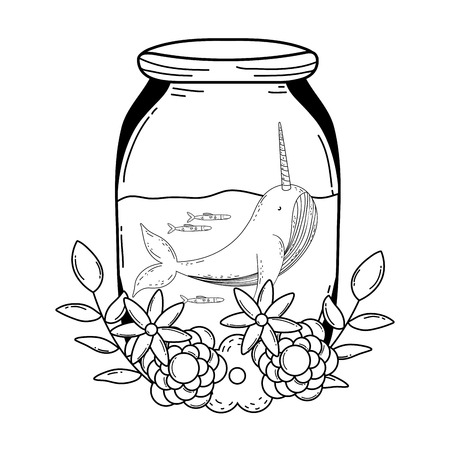 cute narval in mason jar with wreath flowers vector illustration design