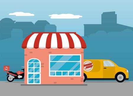food order delivery truck restaurant in city vector illustration graphic design