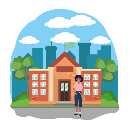 young happy woman student at high school building cartoon vector illustration graphic design