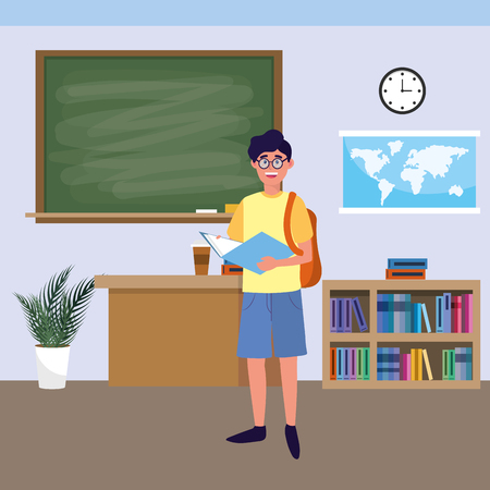 education university college man student at classroom cartoon vector illustration graphic design