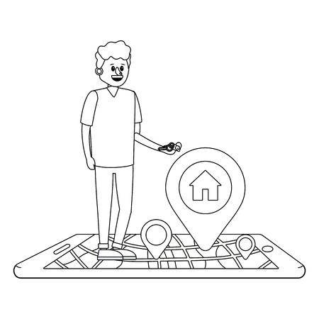 Immobilien-Mann sucht Haus zum Kauf mit Smartphone-Cartoon-Vektor-Illustration-Grafik-Design