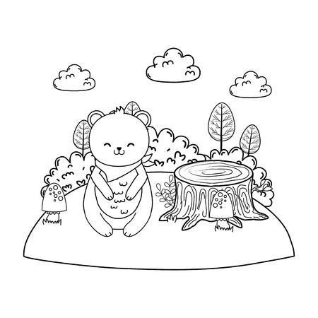 cute bear panda in the field woodland character vector illustration design Illustration