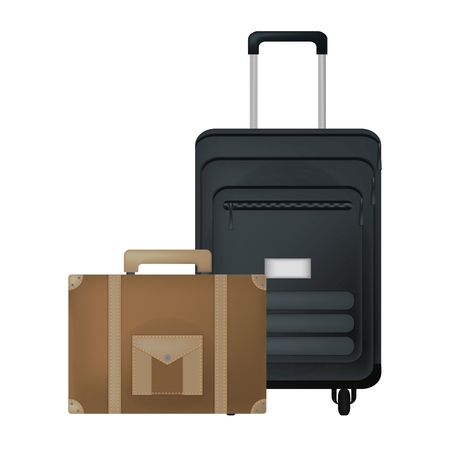 travel suitcase and briefcase journey equipment vector illustration